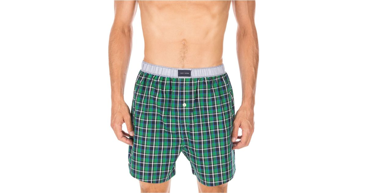 tommy hilfiger plaid boxers 09t2830 in green for men chive save 35 lyst. Black Bedroom Furniture Sets. Home Design Ideas