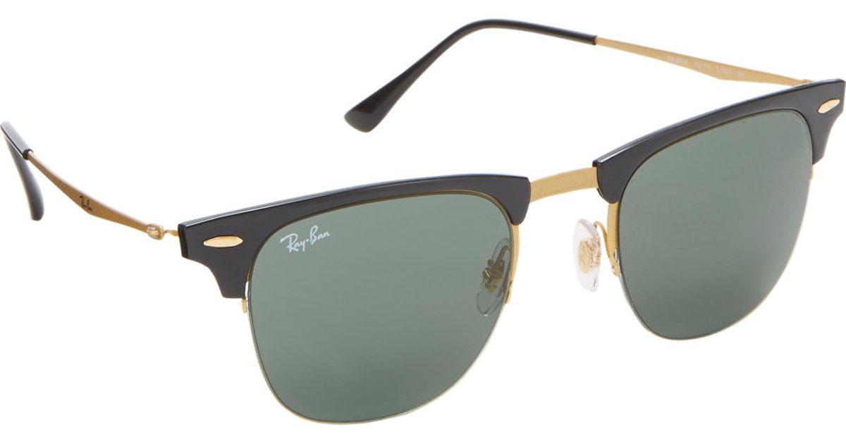 df5877bbbab ... australia ray ban tech light clubmaster sunglasses in black for men  lyst 3953b 2c3a4