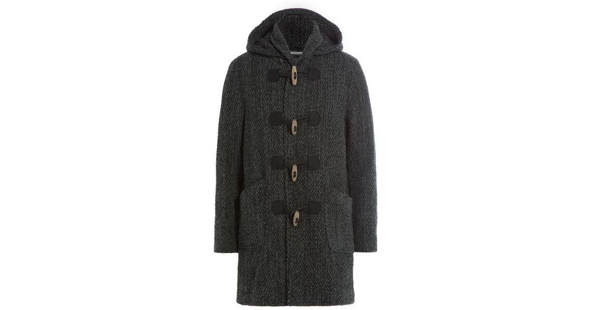 Blue blue japan Wool Duffle Coat - Grey in Black for Men | Lyst