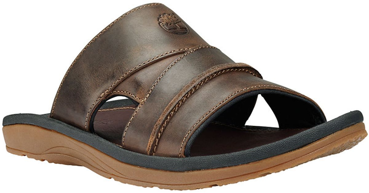 128264e5cf4e Timberland Earthkeepers Original Leather Slide Sandals in Brown for Men -  Lyst
