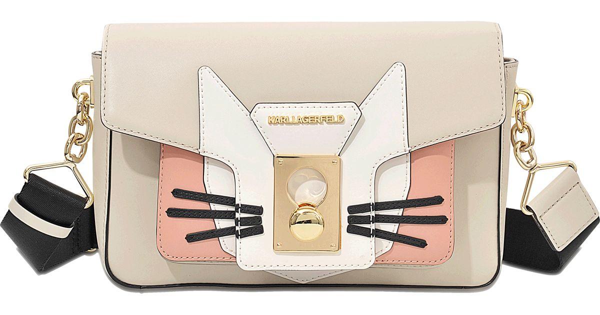 Lyst - Karl Lagerfeld K Pin Closure Cat Shoulder Bag in Natural d348fc1b6af35