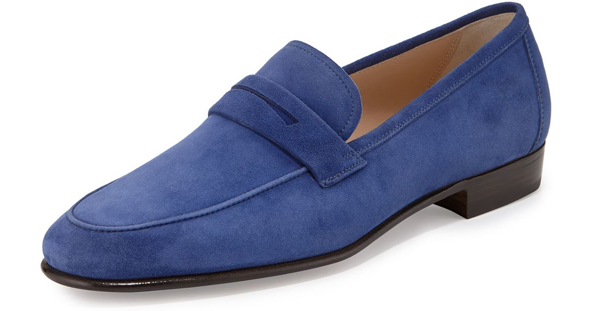 9f6bf3b9420 Lyst - Gravati Suede Penny Loafer in Blue for Men