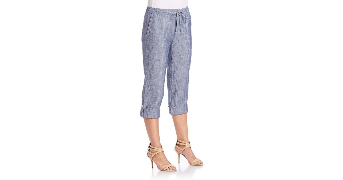 6017563006d Lord   Taylor Rolled Chambray Capri Pants in Green - Lyst