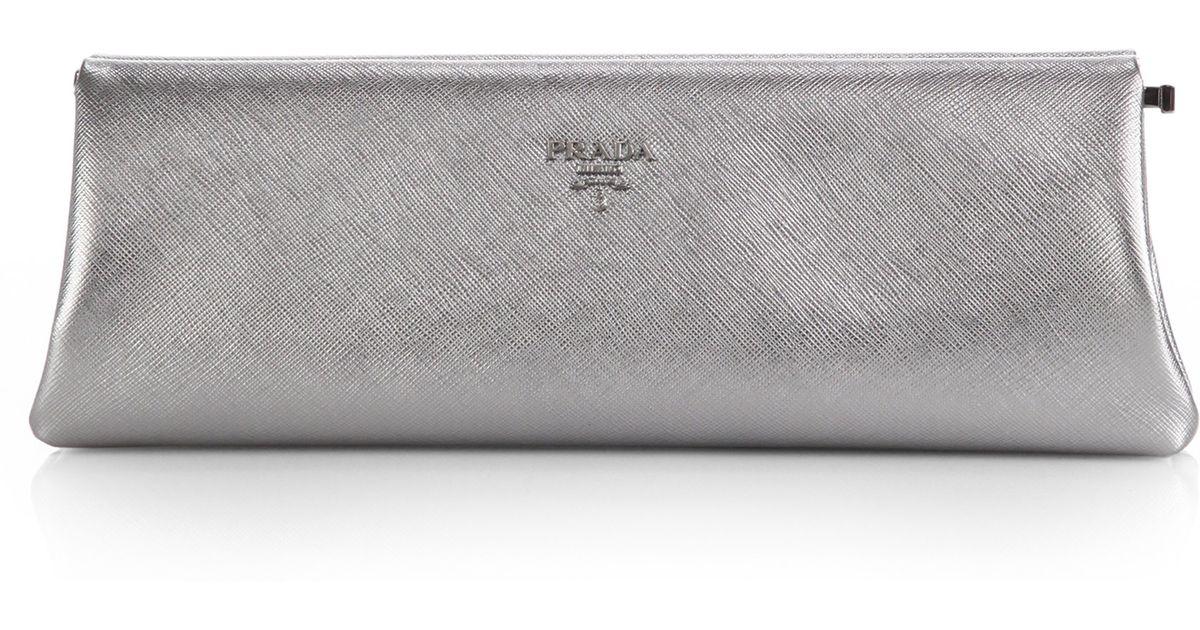orange prada tote - Prada Saffiano Metallic Lux Frame Clutch in Silver (cromo) | Lyst