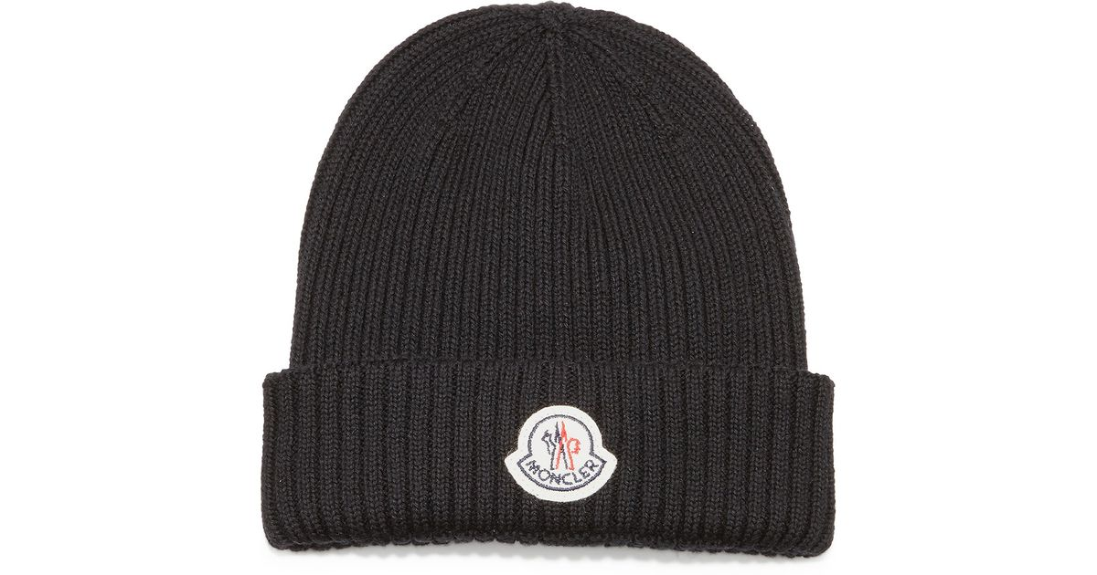 d036bfe0c8b Lyst - Moncler Cashmere Ribbed-knit Beanie Hat in Black for Men