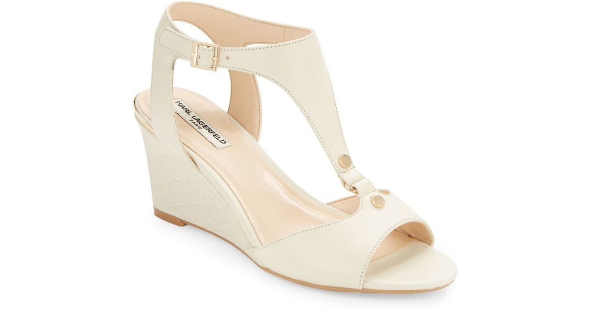 048c06877f7a Karl lagerfeld Affre Leather T-strap Wedge Sandals in .