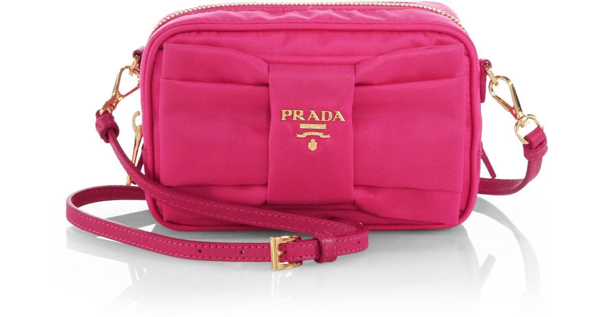 5313525c3493 ... cheap lyst prada tessuto nylon bow crossbody bag in purple 15d1c 20a08