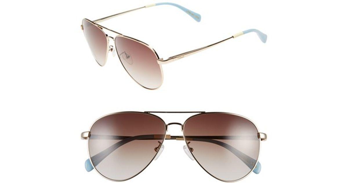 d9ab00477904 Lyst - TOMS 'maverick' 60mm Aviator Sunglasses in Metallic