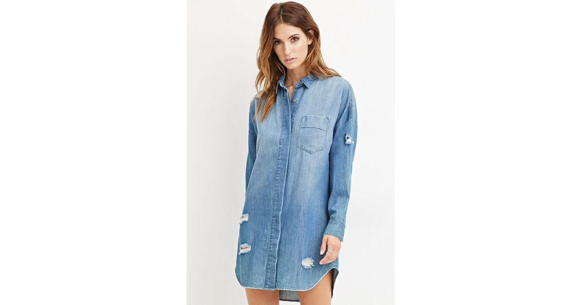 ae21a4f23cc Forever 21 Contemporary Life In Progress Distressed Denim Shirt Dress in  Blue - Lyst