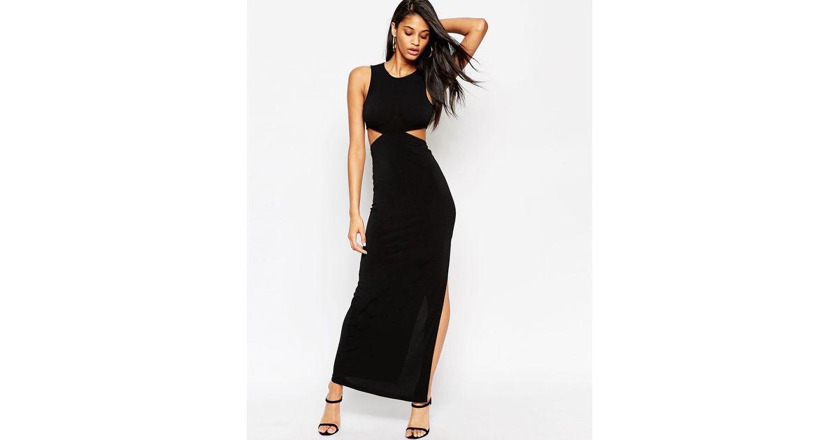 7d1147560813a0 ASOS Cut Out Crepe Maxi Dress in Black - Lyst