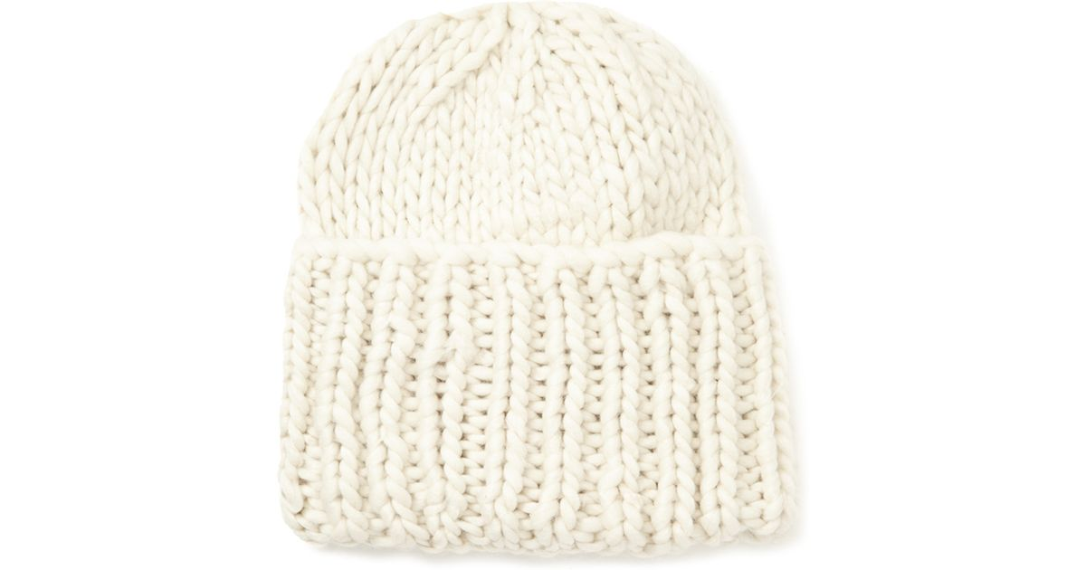 Lyst - Forever 21 Chunky Knit Fold-over Beanie in Natural 4dd95e09c8e