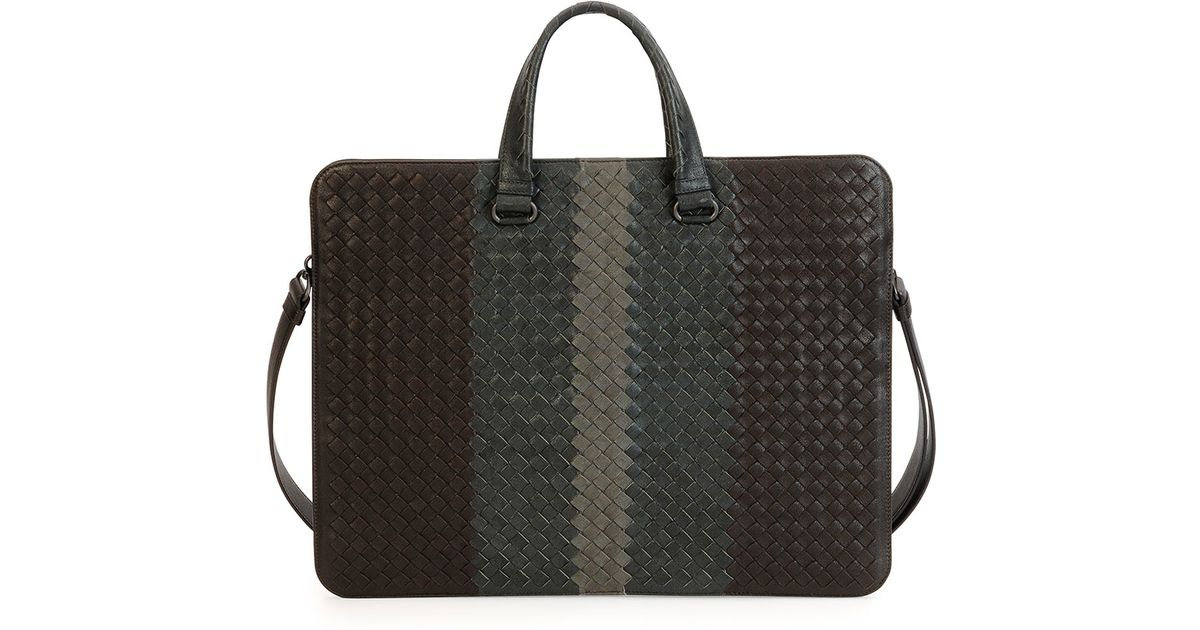 3827b21f990d Lyst - Bottega Veneta Tricolor Woven Slim Briefcase in Brown for Men