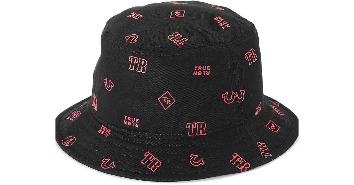 c8434499f8495 Lyst - True Religion Monogram Twill Bucket Hat in Black for Men