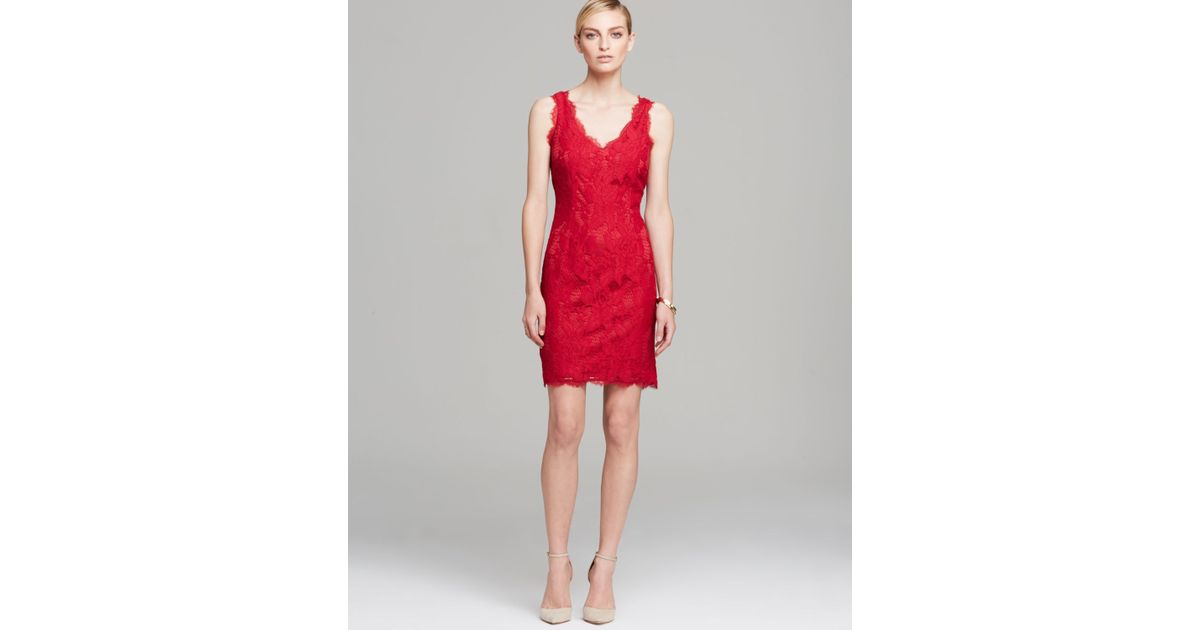 6b6c8d7407 Adrianna Papell Dress Sleeveless V Neck Lace Overlay Sheath in Red - Lyst