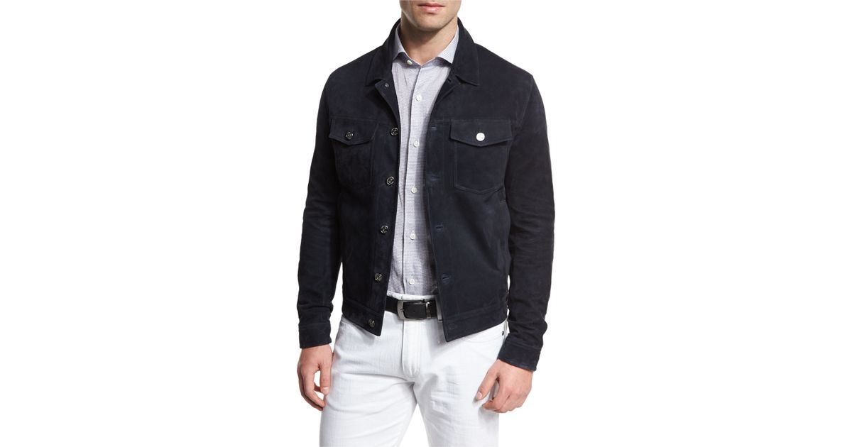 Ermenegildo Zegna Button Down Suede Jean Jacket In Blue