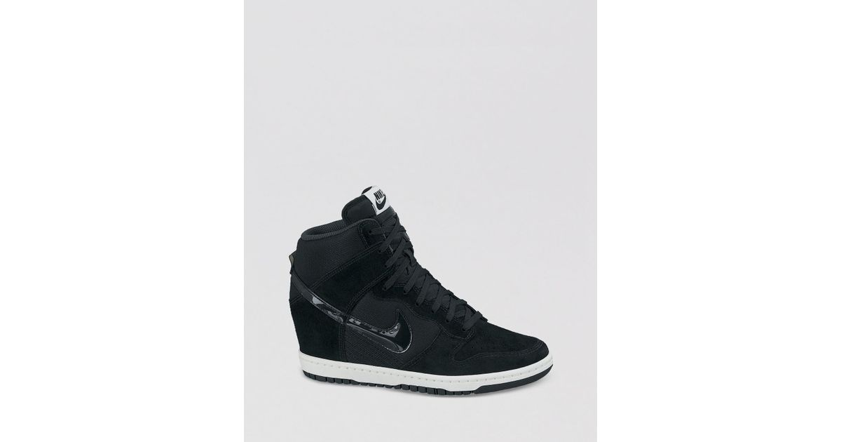 Lyst - Nike Lace Up High Top Wedge Sneakers Womens Dunk Sky Hi Essential in  Black ddb7ad1148