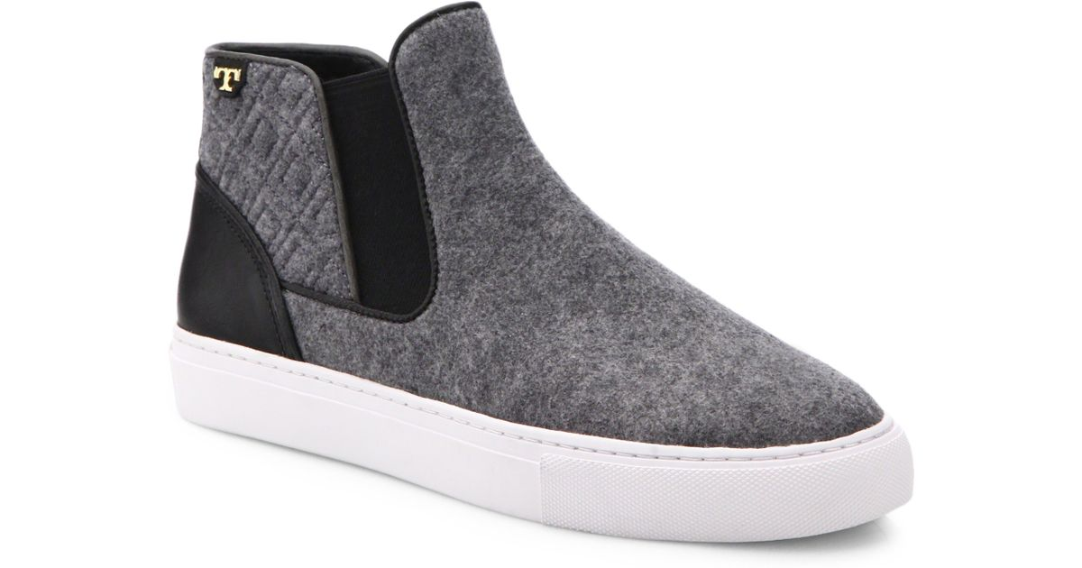 a2a1430aab53 Lyst - Tory Burch Marion Quilted Felt High-Top Sneakers in Gray