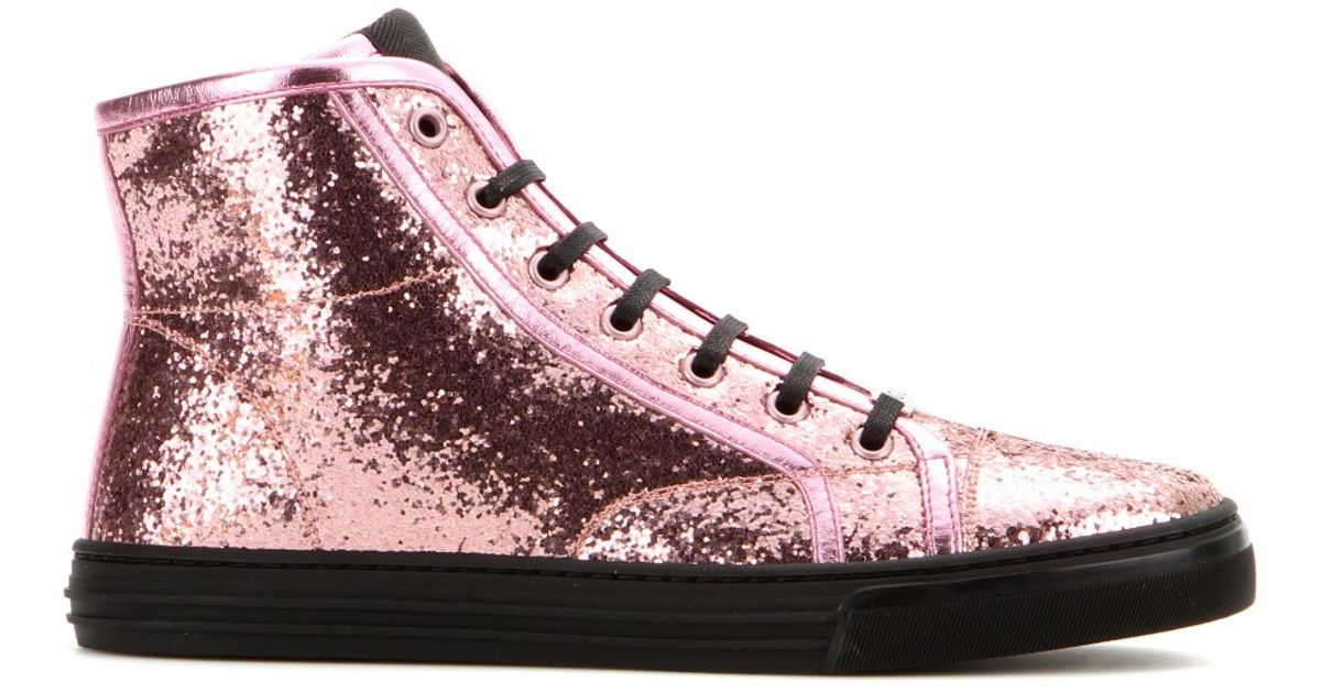 fc4192a3c7b Lyst - Gucci California Glitter High-Top Sneakers in Pink