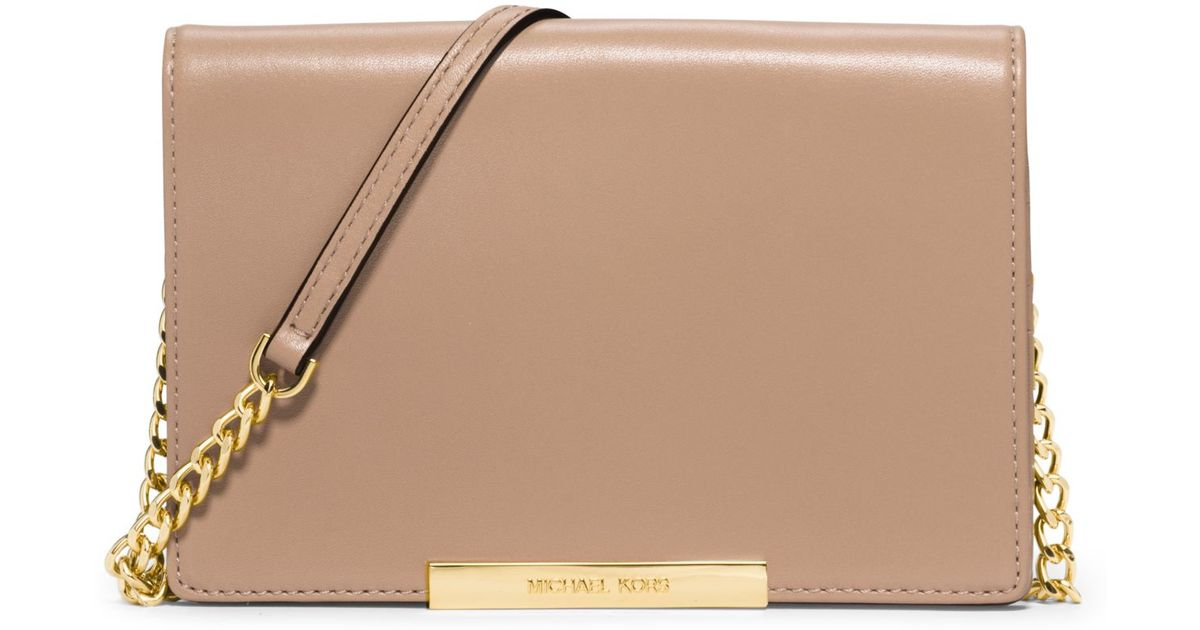 101619f005ce Michael Kors Lana Leather Clutch in Natural - Lyst
