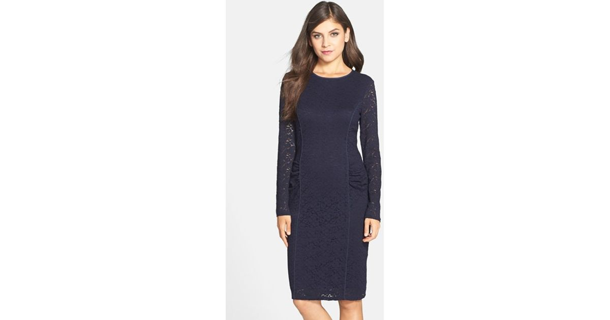 27d83152 Vince Camuto Long Sleeve Lace Sheath Dress in Blue - Lyst