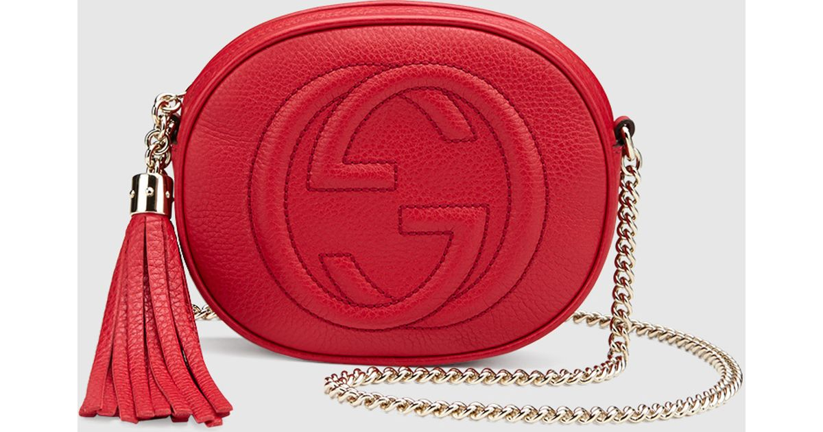 6f977573153d Gucci Soho Leather Mini Chain Bag in Red - Lyst