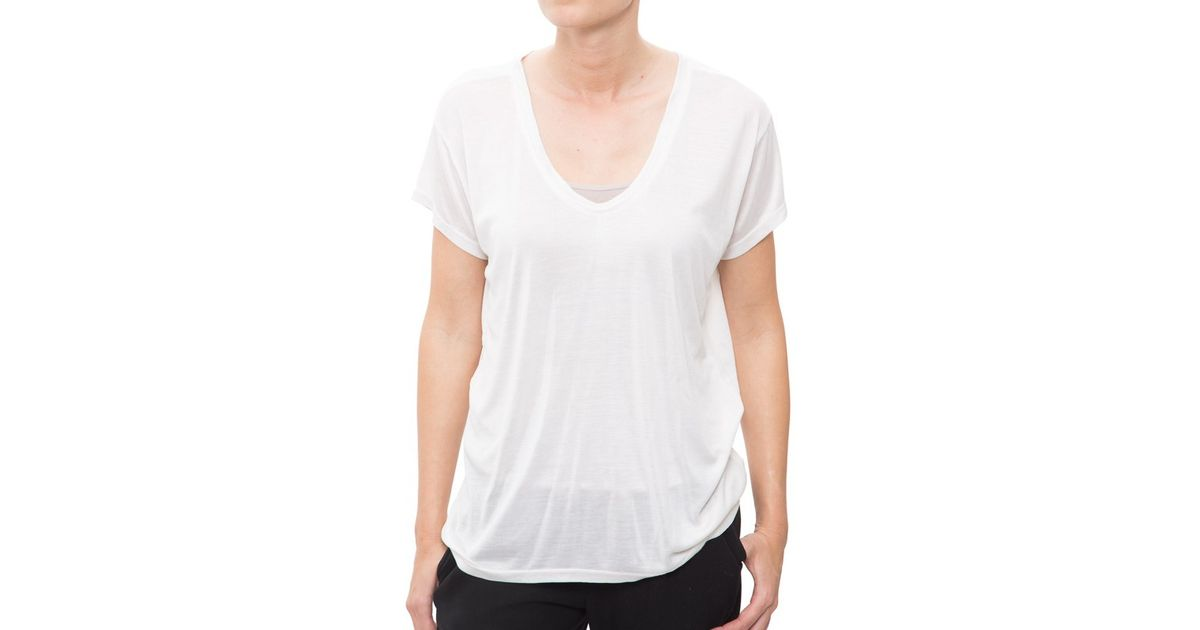 Helmut Lang Scoop Neck T Shirt In White Lyst