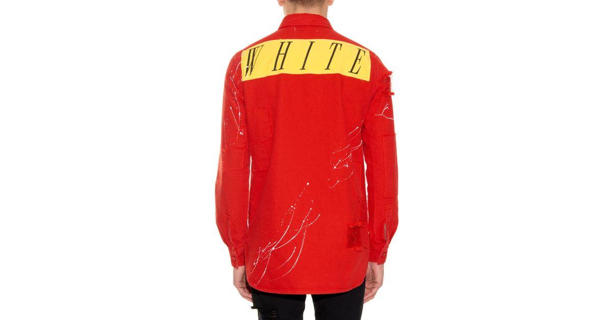 red paint splash off white co virgil abloh paint splatter print canvas shirt in