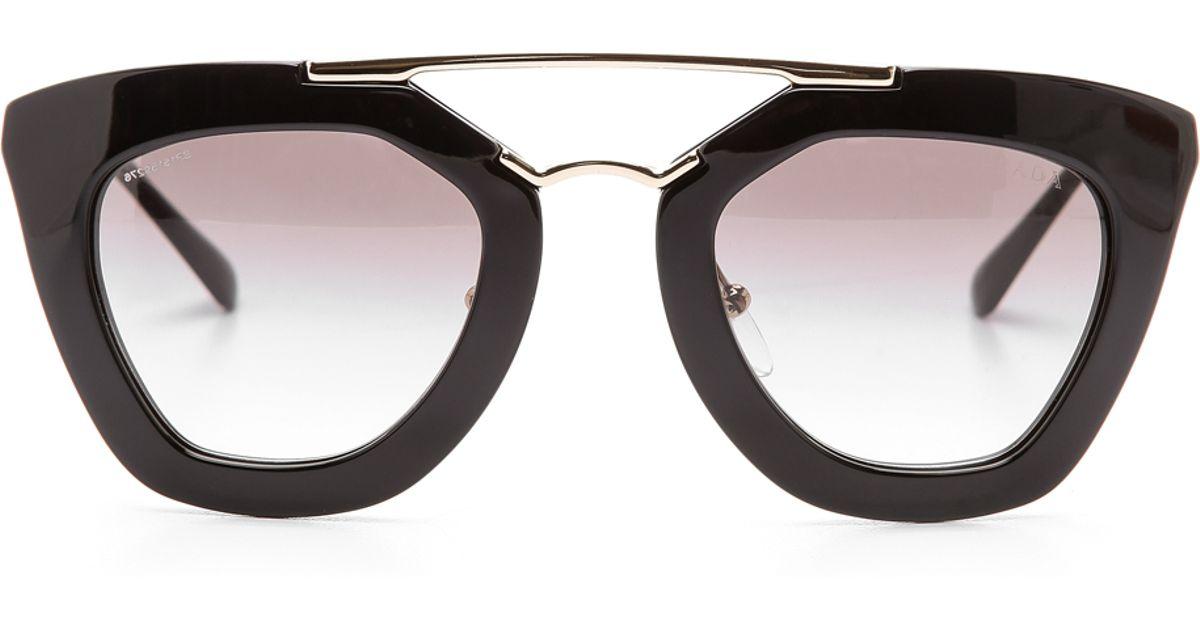 Prada Glasses Frame 2015 : Prada Thick Frame Sunglasses in Black Lyst
