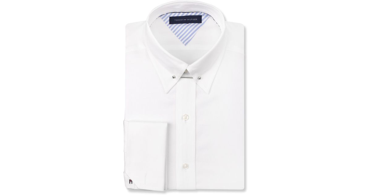 1f19b32e810 Tommy Hilfiger White French Cuff Dress Shirt With Collar Bar in White for  Men - Lyst