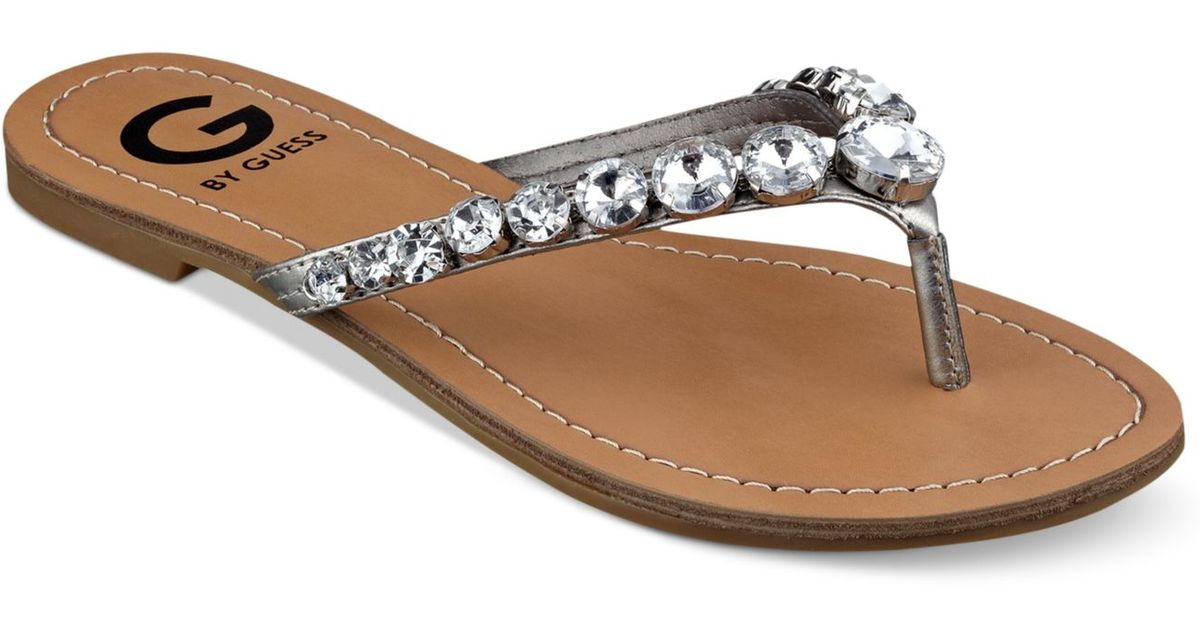 6909a79bd021d Lyst - G by Guess Women s Lalaa Rhinestone Thong Sandals in Metallic