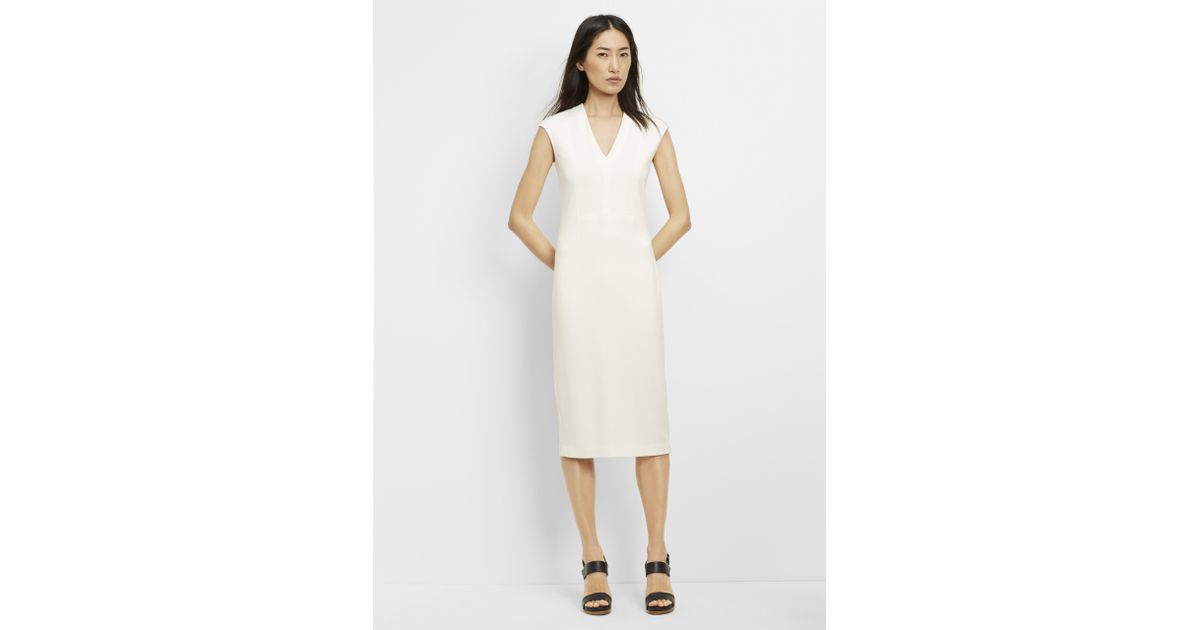 fbf61730ce7 Vince Textured Ponte V-neck Bib Sheath Dress in White - Lyst