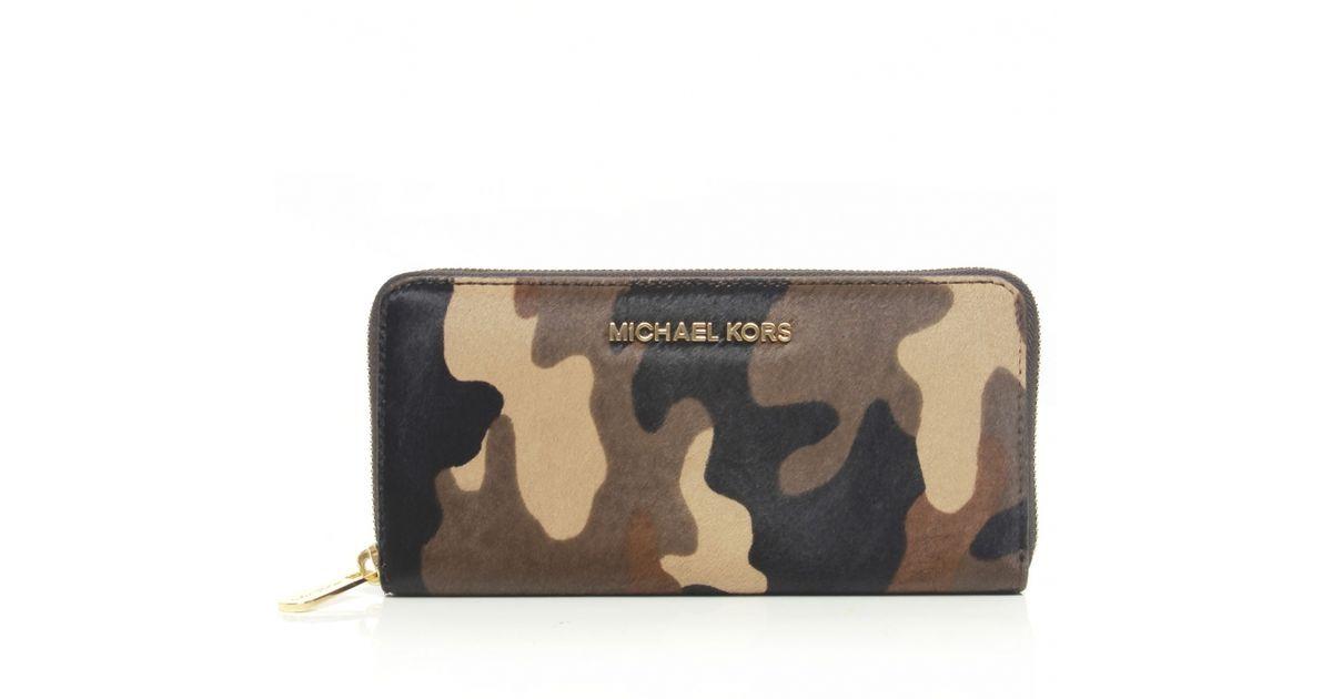 8cb8450405cf ... aliexpress lyst michael kors jet set camouflage purse in brown 52595  4b76c