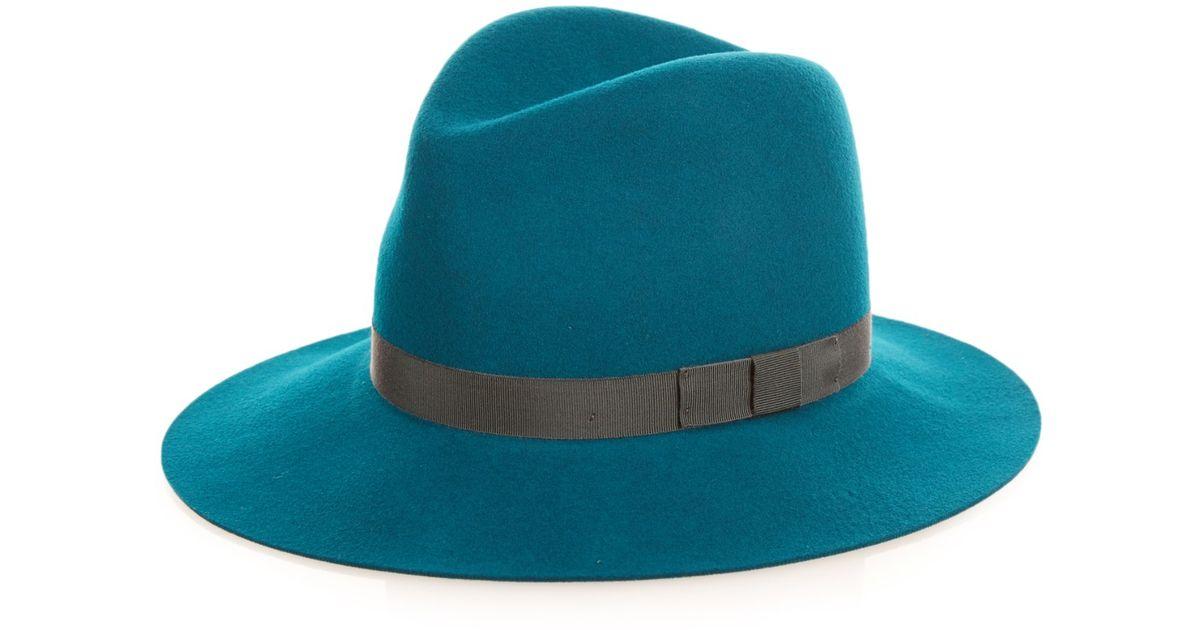 Lyst - Rag   Bone Floppy Brim Wool-felt Fedora Hat in Green 0c7a7c124df
