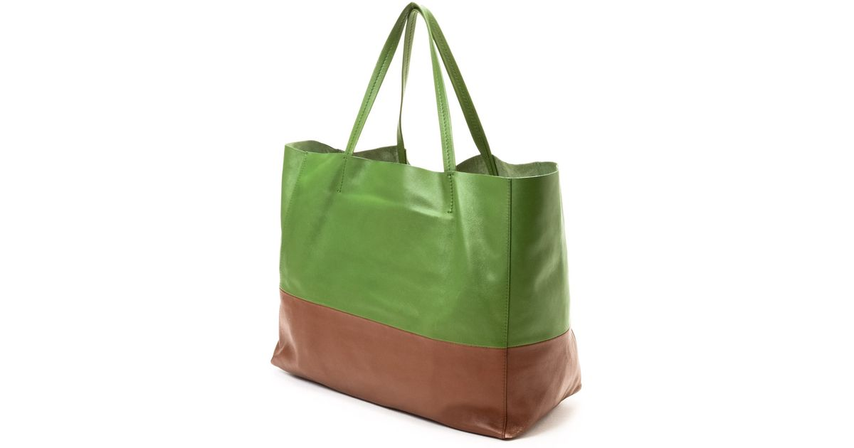 C¨¦line Two-Tone Horizontal Cabas Tote in Green (Two-Tone) | Lyst