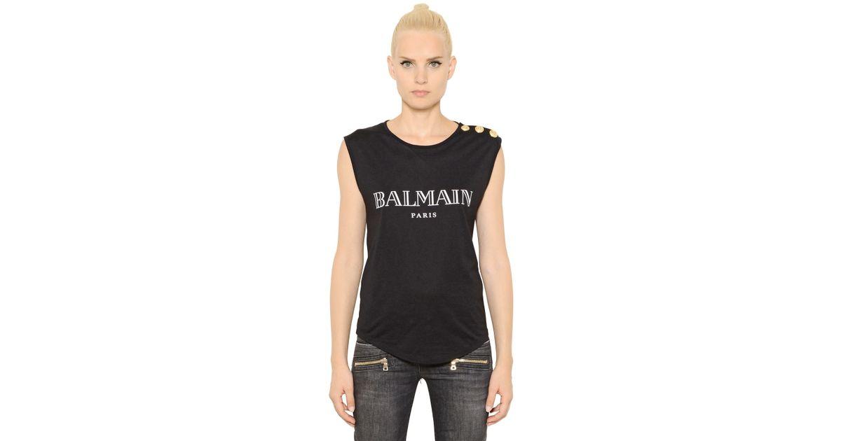 Balmain logo printed cotton jersey t shirt in black lyst for Balmain white logo t shirt