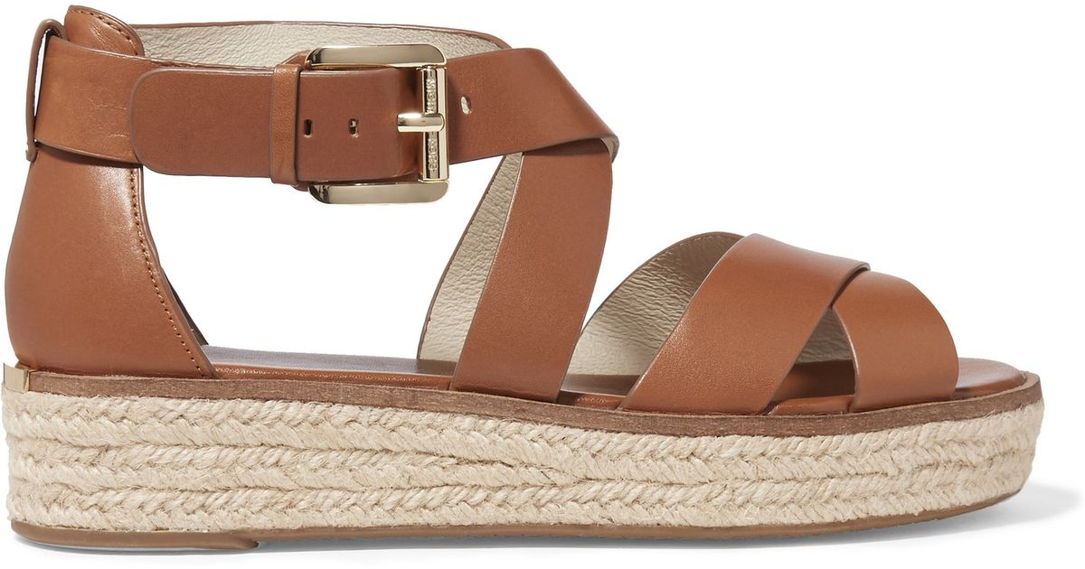 89277a8e0709 MICHAEL Michael Kors Darby Leather Espadrille Platform Sandals in Brown -  Lyst
