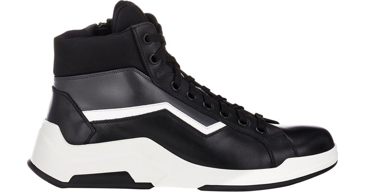 fcf062c053e4b ... order lyst prada mens leather nylon high top sneakers for men 44295  bfbae