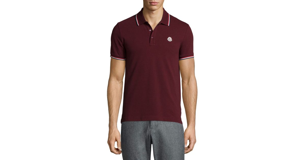 88579918bc7d Lyst - Moncler Short-sleeve Tape-tipped Polo Shirt in Brown for Men