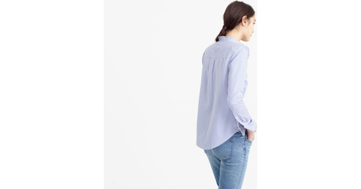 Tall Ruffled Button Up Shirt In Stripe In Blue Lyst