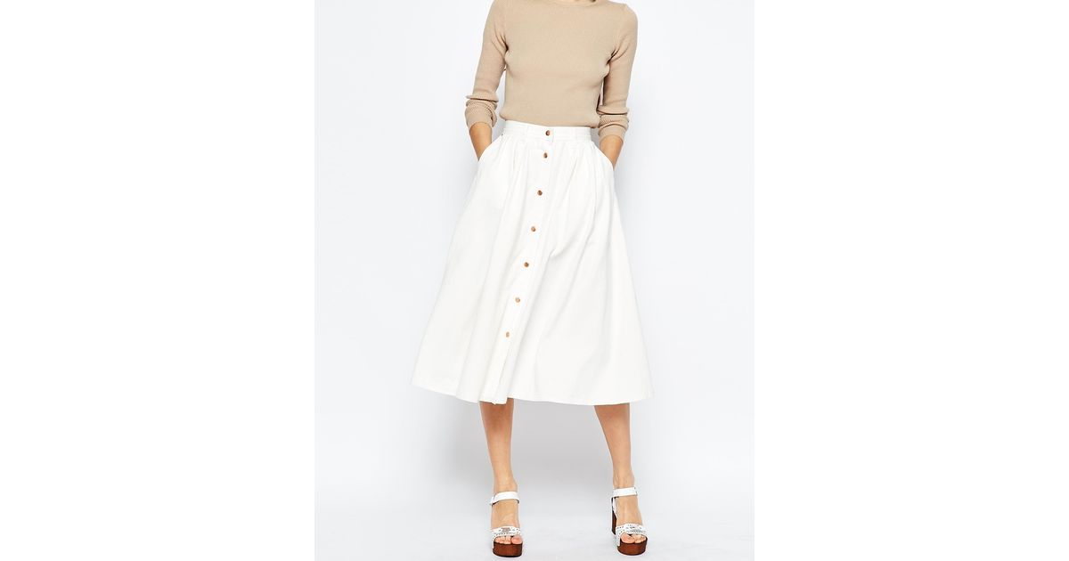 asos denim high waisted button through midi skirt in white