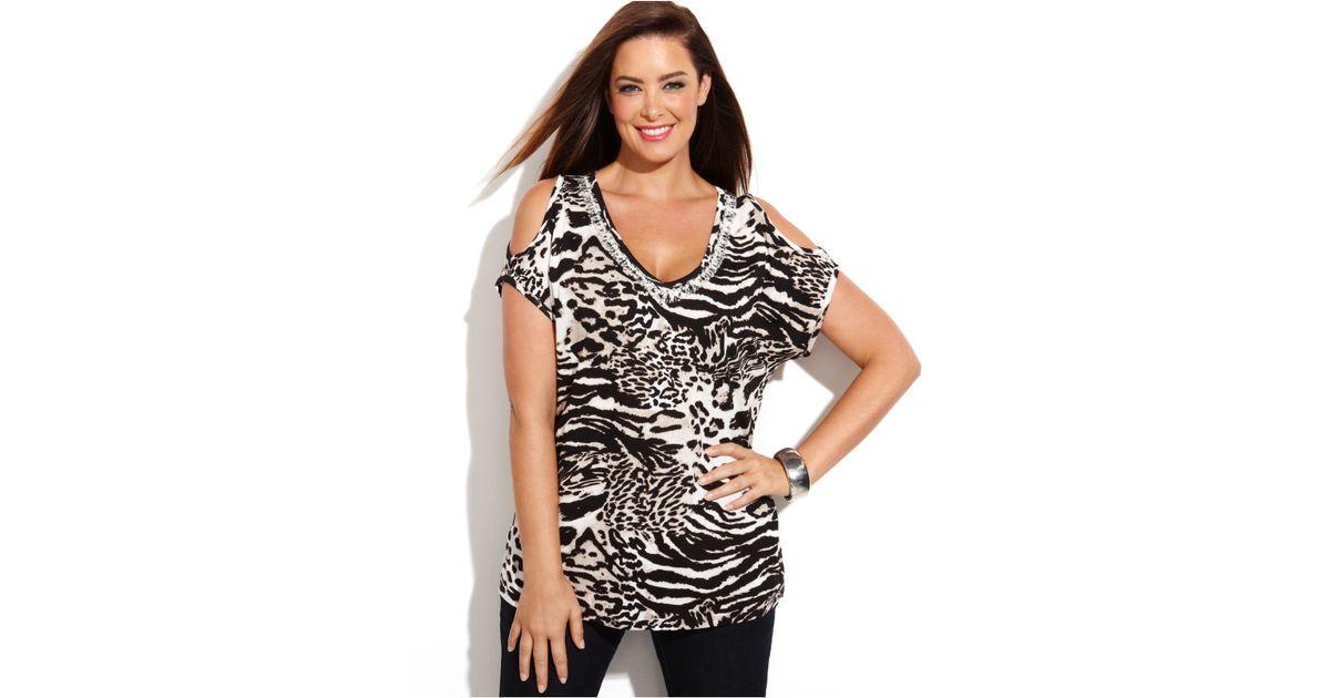edada869e25 INC International Concepts Plus Size Embellished Animal-Print Cold-Shoulder  Top in Black - Lyst