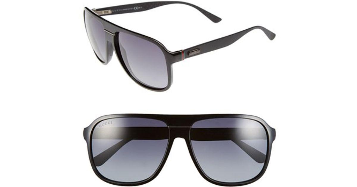 e598d27365 Lyst - Gucci 59mm Aviator Sunglasses - Shiny Black  Grey Gradient in Black  for Men