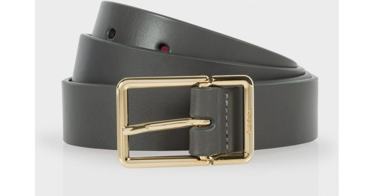 paul smith s grey leather belt with contrasting