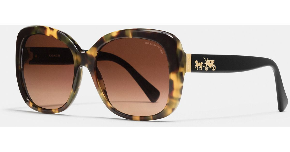 3ef52fc90df5 ... spain lyst coach horse and carriage square sunglasses in brown e58aa  cc523