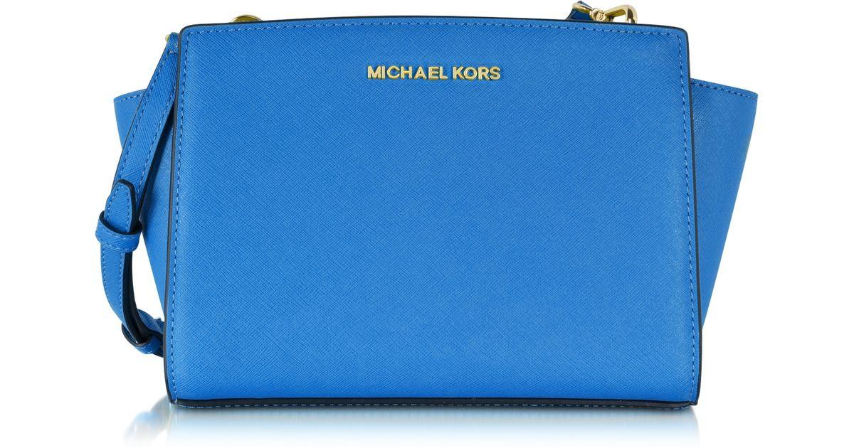 668aae9ff5dd Lyst - Michael Kors Selma Medium Saffiano Leather Messenger Bag in Blue