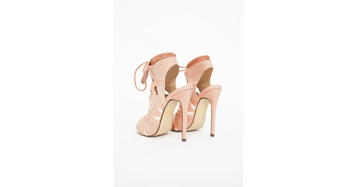ebc5eeb52cd Missguided - Pink Valentina Lace Up Tassel Heeled Sandals Blush - Lyst