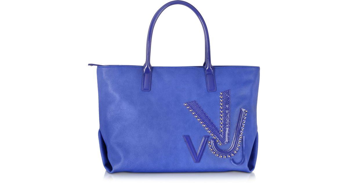 Lyst - Versace Jeans Signature Vj Blue Eco Leather Tote in Blue 40e208412e