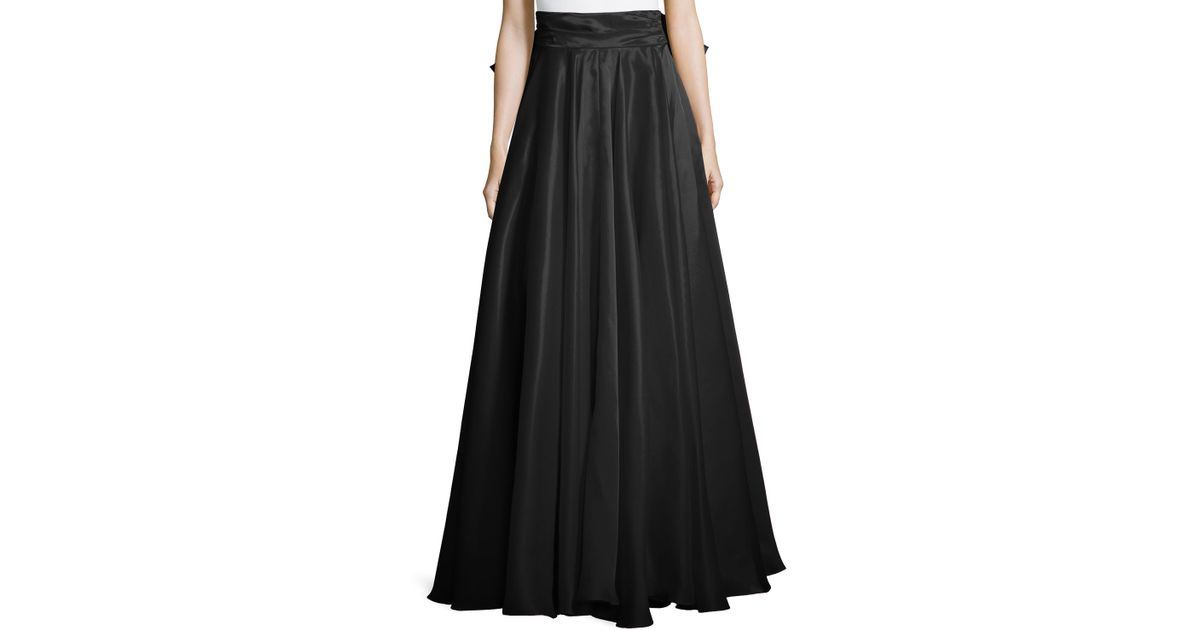 milly bow back silk maxi skirt in black lyst