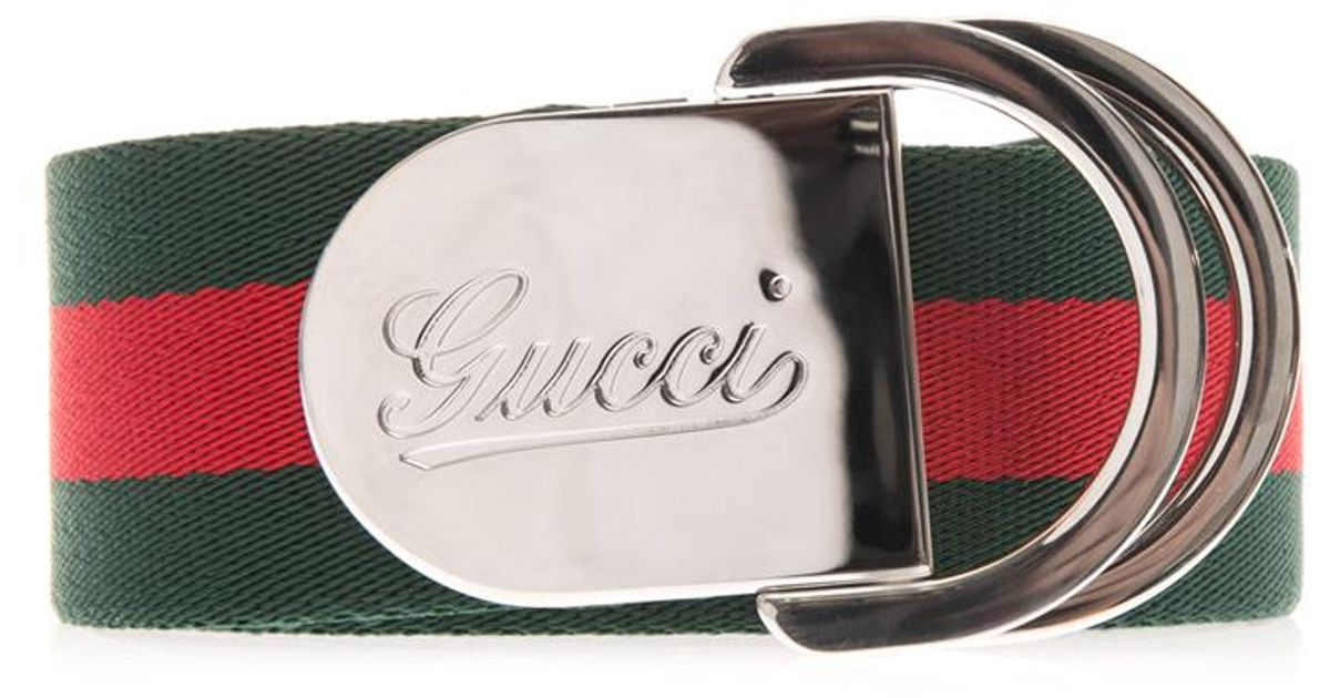 76150d56af0 Lyst - Gucci Striped Canvas Ribbon Belt in Green for Men