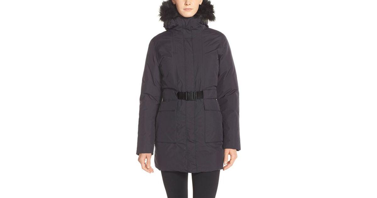 Lyst - The North Face  dunagiri  Waterproof Down Parka With Faux Fur Trim  in Black 50b953e42